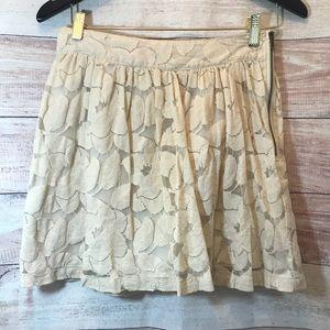 Tulle Ivory Sheer Lined Floral Short A Line Skirt